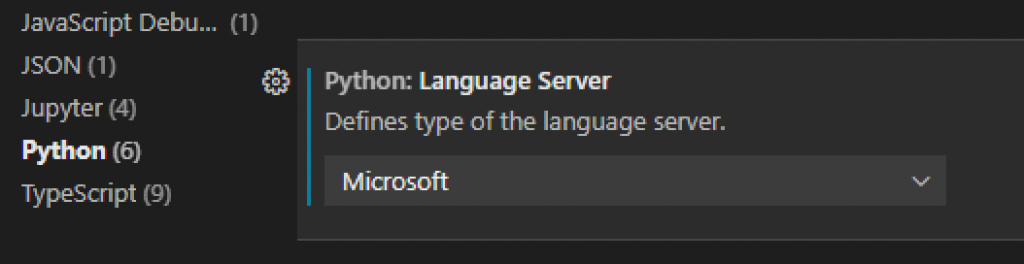 Language ServerをMicrosoftに設定